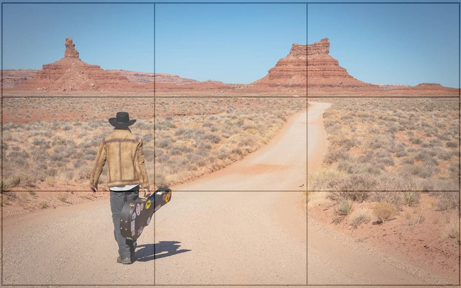 Photographic representation of the rule of thirds