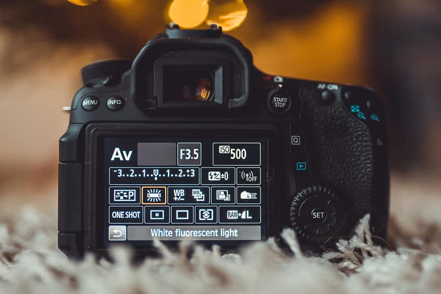 photo of the back of a camera with all the settings