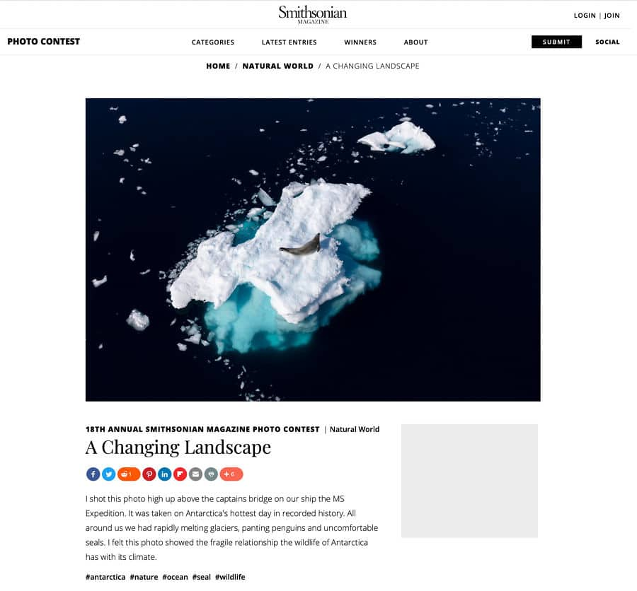 Award winning image of seal on iceberg in Antartica featured by the Smithsonian Magazine