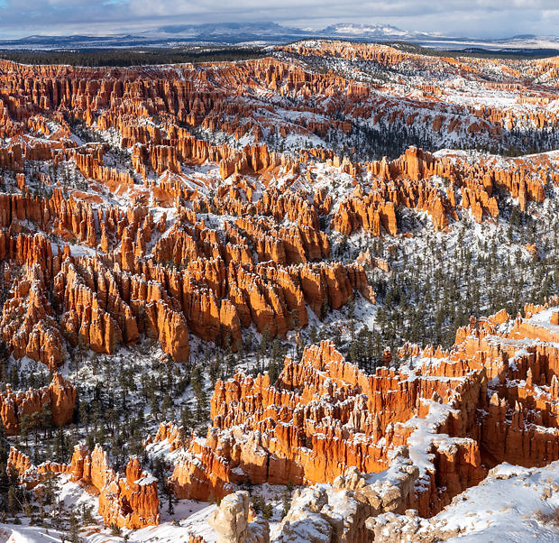Bryce Canyon National park displayed with snow dusting the canyon floor