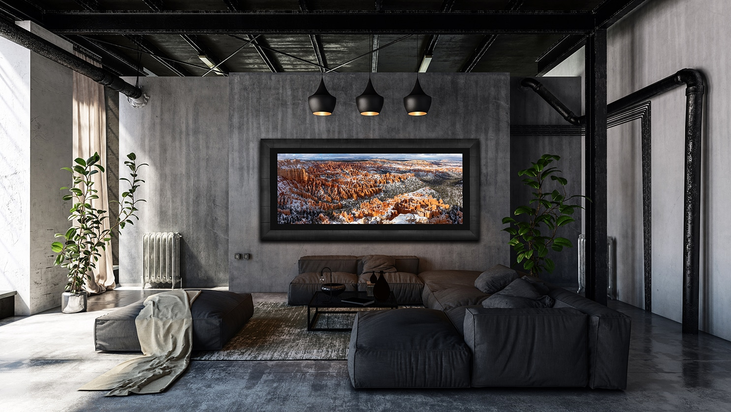 Large framed photo of Bryce Canyon National Park displayed above couch in living room of luxury home