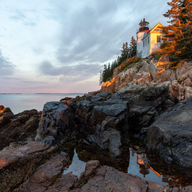 Image of Bass Harbor lighthouse in Acadia National Park at sunrise